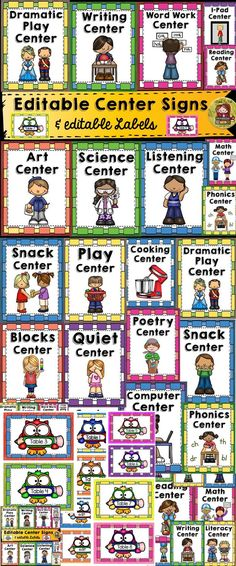 Use these 21 editable Classroom Center Signs and 10 editable labels to decorate your classroom. https://www.teacherspayteachers.com/Product/BACK-TO-SCHOOL-CLASSROOM-CENTER-SIGNS-LABELS-KIDS-CHALKBOARD-1957230