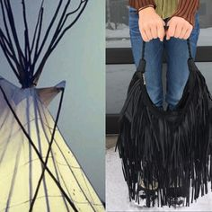 """Faux Leather Fringe Bag Fringe bag.. Great shape that lays nicely on the body.. 12"""" handle drop Top Zip..interior zip pocket and two open interior pockets .. Braided single handle.. 16x10""""  Fringe is all the rage this season.. Bags Hobos"""