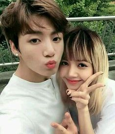 """""""You know, that blonde girl with bangs?"""" The royal maknae of the monster rookie group, BLACKPINK, has the longest crush on the golden maknae of BTS. Yes, Lisa. Kpop Couples, Cute Couples, Bts Jungkook, Taehyung, Bts Girlfriends, K Pop, Korean Couple, Blackpink And Bts, Pop Bands"""