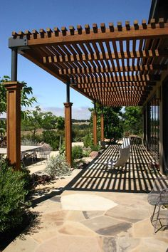 Custom Contemporary Wooden Covered Pergola Ideas outdoor living, outdoor terrace, wooden pergola, stone tiling,