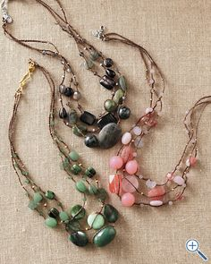 Chan Luu 3 strand semiprecious necklace
