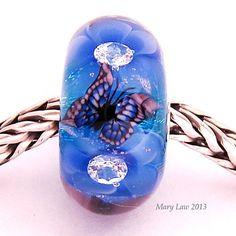Blue Twilight Glaslight Artisan Handmade Lampwork Glass Murano Dichroic Sparkle Bead SRA