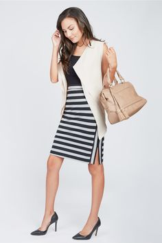 Mixed Stripe Pencil Skirt by Summer & Sage at Le Tote
