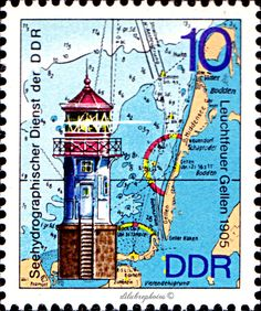 German Democratic Republic.  LIGHTHOUSES TYPE OF 1974.  HYDROGRAPHIC SERVICE OF GDR. LIGHTHOUSES, MAPS & NAUTICAL CHARTS, GELLEN, 1905.  Scott 1646 A478, Issued 1975 May 13, Litho., Perf. 14,  10.  /ldb.  (MINT)
