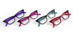 Colorful spin on the squared cat...SEE 1415 :: BLACK/PURPLE, TORTOISE/HOT PINK, DARK HAVANA/AQUA, GREY/RED :: COMING SOON! class=  eyewear