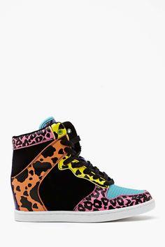 Neon Feline Wedge Sneaker