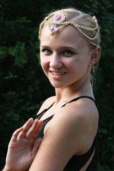 Professional Ballet Headpiece Tiara Gold Purple AB Crystal Dance Crown Head Piece Arabian