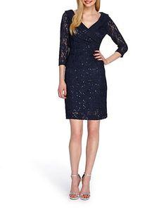 "<ul> <li>A stunning, shirred sheath in sequins and lace</li>  <li>V-neck</li>  <li>Three-quarter length sleeves</li>  <li>Shirred side</li>  <li>Concealed back zipper</li>  <li>Length, about 30"" from shoulders to hem</li>  <li>Polyester/nylon/spandex</li>  <li>Dry clean</li>  <li>Imported</li><li>This item will arrive with a tag attached and instructions for removal. Once tag is removed, this item cannot be returned.</li></ul>"