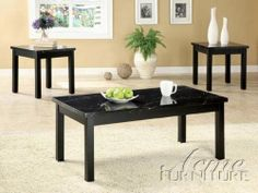 """3pc Coffee Table and End Tables Set with Faux Marble Top in Black Finish by Acme Furniture. $215.00. Living Room->Coffee and Occasional Tables->Coffee and End Table Sets. Living Room. Some assembly may be required. Please see product details.. 3pc Coffee Table and End Tables Set in Black Finish. You will receive a total of 1 coffee table and 2 end tables. Coffee Table: 42""""W x 22""""D x 18""""H End Table: 18""""W x 17""""D x 21""""H Finish: Black Material: Wood, Faux Marble 3pc Coffee Table ..."""