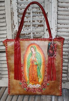 KurtMen Guadalupe Box Tote with Tomato Red Whip Stitching and Fringe~ LOVE LOVE LOVE!!!!!! :)