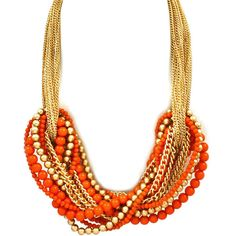 Orientalist Statement Necklace Orange ❤ liked on Polyvore featuring jewelry, necklaces, accessories, statement necklaces, orange statement necklace, bib statement necklace, orange jewelry and orange necklace