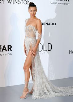 ESC: Bella Hadid, Amfar Gala, Cannes Film Festival 2017 See all of the red carpet fashion for the annual event in France Gala Dresses, Red Carpet Dresses, Sexy Dresses, Beautiful Dresses, Formal Dresses, Wedding Dresses, Club Dresses, Bella Hadid Red Carpet, Sheer Dress