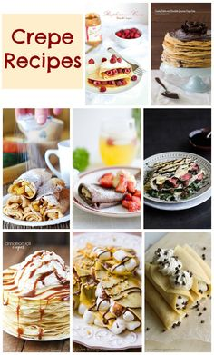 Crepe Recipes - breakfast, brunch recipes and dinner crepes. A collection of 10 crepe recipe ideas. Crepe Recipes, Waffle Recipes, Brunch Recipes, Dessert Recipes, Pancake Recipes, Mini Desserts, Delicious Desserts, Yummy Food, Oreo Dessert