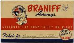 Braniff Airways ticket holder