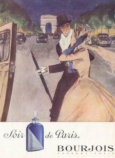 Soir de Paris BOURJOIS 1951 Affiche de Mourgue