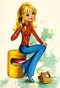 Mod girl talking on the phone.