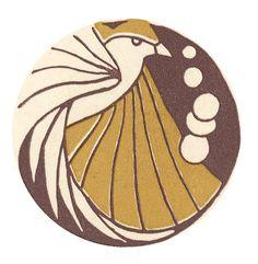 Art deco bird tattoo design inspiration | Bird Fish Frog Coaster Set of Four