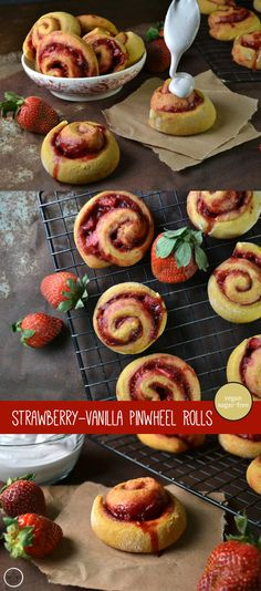 Sweet little bite-sized Strawberry-Vanilla Pinwheel Rolls by An Unrefined Vegan. No sugar, no dairy.
