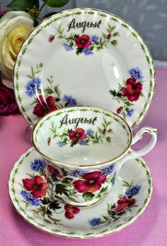 Royal Albert Flower Of The Month Series August Teacup Trio c.1970's