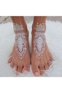 White Henna Art on Feet
