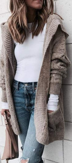 #winter #outfits white shirt, jeans, beige cardigan