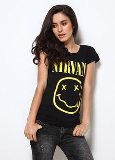 12a459e5 Nirvana - Smiley Face Nevermind Women Music T-shirt - MOLEBALL New Look  Fashion,