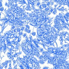 Blue Floral Seamless Pattern with Peonies in Vintage Style stock vector art 72390823 - iStock