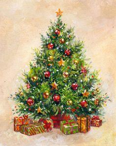 30 ideas vintage christmas tree art for 2019 Christmas Tree Art, Christmas Paintings, Christmas Scenes, Retro Christmas, Vintage Christmas Cards, Christmas Love, Christmas Pictures, Christmas Greetings, Winter Christmas
