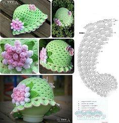 Crochet Hat Pattern Kids, Crochet Flower Hat, Crochet Summer Hats, Crochet Daisy, Crochet Cap, Crochet Girls, Crochet Baby Hats, Crochet Patterns, Diy Crafts Crochet