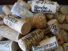 """Wine Cork Journaling - make memories out of your corks by jotting down the date and who you shared the bottle of wine with! Display them in a decorative bowl and take a walk down memory lane every now and then by reading through the corks, triggering happy memories of good times and good wine. (Note to self: do not """"journal""""each time I've enjoyed a bottle with myself...that could be depressing. Ha Ha !). This fabulous idea came from the blog Mintage Home."""