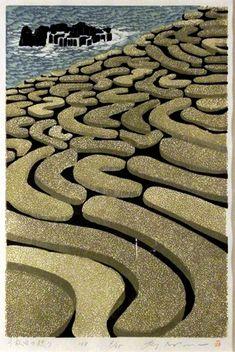 Senmaido Harvest by Ray Morimura 森村 玲 Japan / woodblock print Japanese Art Modern, Japanese Prints, Japanese Design, Japanese Illustration, Illustration Art, Botanical Illustration, Art Occidental, Japanese Woodcut, Tokyo