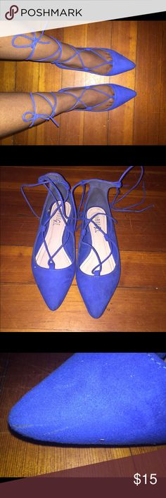 Blue strap up flats  Worn twice , size 7.5 , Strap up flats, Good condition only little mark on left flat (shown in last pic) Shoes Flats & Loafers