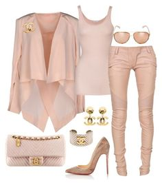 """Rude Nude"" by fashionkill21 ❤ liked on Polyvore featuring sass & bide, iHeart, Balmain, Chanel, Christian Louboutin and Linda Farrow"