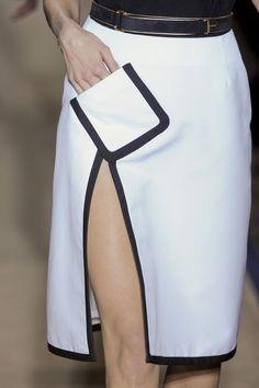 Yves Saint Laurent at Paris Fashion Week Spring 2011 - 〰Fashion details〰 - White skirt with slanted pocket & black trim; Fashion Details, Look Fashion, Runway Fashion, Fashion Show, Fashion Outfits, Fashion Tips, Fashion Design, High Fashion Dresses, Classy Fashion