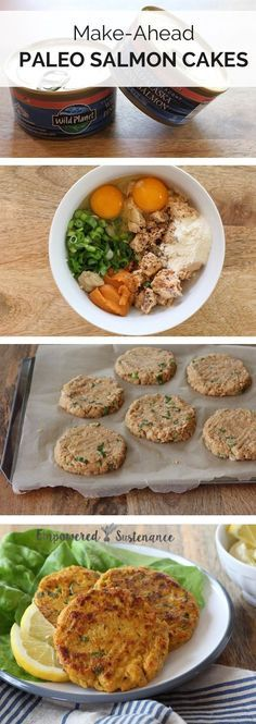 Make-ahead paleo salmon cakes - With just a handful of ingredients, these paleo salmon cakes can be made ahead of time and browned before serving. Ideal for a quick, omega-3-rich meal!