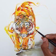 Watercolor Tiger, Watercolor Animals, Tiger Painting, Watercolor Illustration, Animal Drawings, Art Drawings, Tiger Art, Lion Art, Desenho Tattoo