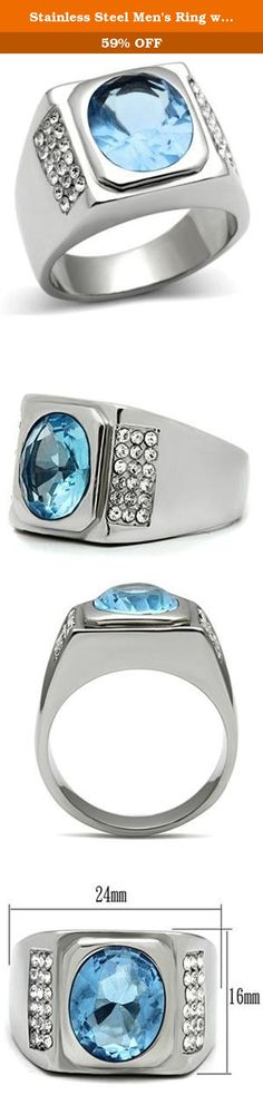 Stainless Steel Men's Ring with a Light Blue Stone in a Bezel Setting. Base Metal: Stainless Steel, Finish: High Polished (No plating, Fade Resistant), Stone: Synthetic Light Blue Glass, Size of Stone: 10mm x 12mm, Weight: 14.00 grams.