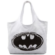 Lauren Moshi Taylor Batman Canvas Tote ($97) ❤ liked on Polyvore featuring bags, handbags, tote bags, accessories, batman, purses, sacs, white, canvas tote and purse tote