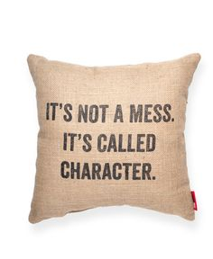 It's Not a Mess Burlap Throw Pillow
