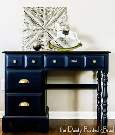 blue painted desk - painted furniture