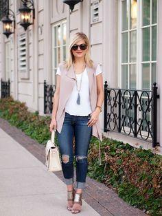 5.15 the struggle (Zara vest + Caslon tee + LJC Designs necklace + Rag & Bone jeans + Nine West heels + Gigi NY bag + Karen Walker sunnies)