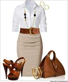 What to wear to work - A #whiteshirt is and will always be a classic. Pair it up with a grey #pencilskirt and contrasting #accessories.