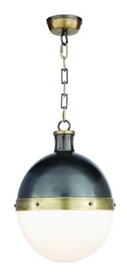 Visual Comfort Lighting Thomas O Brien Large Hicks Pendant in Bronze & Hand-Rubbed Antique Brass with White Glass Pendant Lamp, Pendant Lighting, Light Pendant, Visual Comfort Lighting, Celadon, Thomas O'brien, Circa Lighting, Kitchen Pendants, Kitchen Fixtures