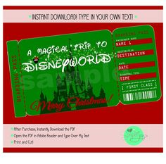Printable Ticket To Disney DisneyworldDisneyland Boarding Pass