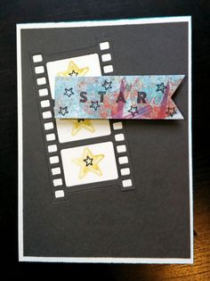 A Bit Of Glue & Paper - handmade greeting card with film strip die cut, STAR stamp, stamped stars; CAS(E) This Sketch 209 #CTS209