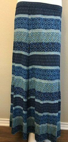 c1187c865cf4 WD NY Women's Size Small Maxi Skirt Blue Print Full Length Rayon Long Skirt  #WDNY