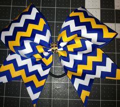 ROYAL Blue / Yellow Gold / White Chevron Cheer Bow by BlingItOnCheerBowz #BlingItOnCheerBowz