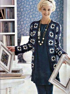 Irish crochet &: CARDIGAN GRANNY SQUARE ... КАРДИГАН БАБУШКИН КВАДРАТ