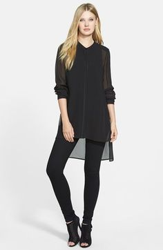 All BLACK.. Mandarin Collar Long Silk Shirt (Regular & Petite) available at #Nordstrom