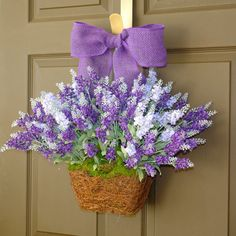 spring wreath lavender purple wreaths Easter wreath front door decorations decor mother's day flowers spring wreaths